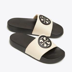 TORY BURCH Logo LINA Cream Leather Slide Sandal